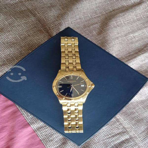 Reloj raymond weil geneve dorado carátula negra