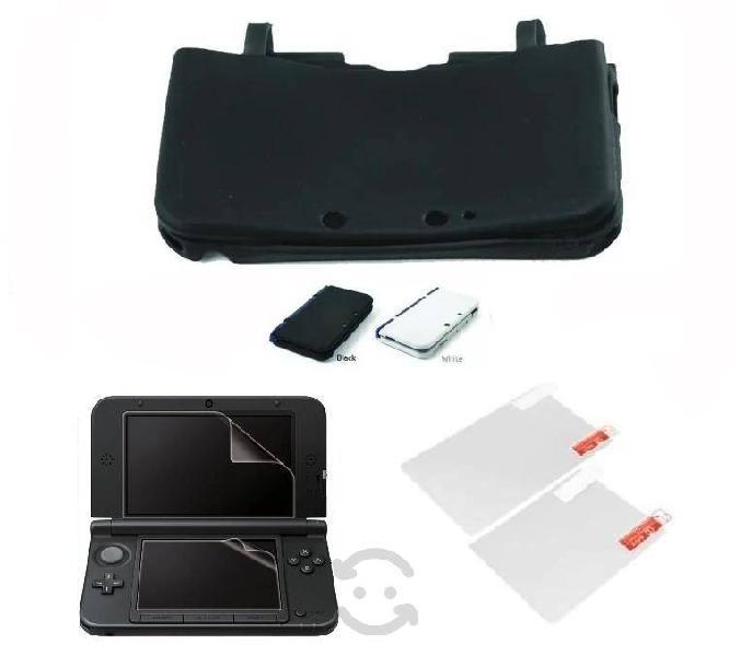 Pack 1 silicon (colores) + mica 2 pantallas 3dsxl