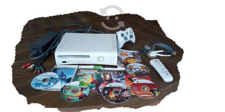 Xbox 360+cables av+disco duro+5juegos+diadema live