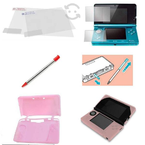 Pack 1 silicon + 1 stylus + mica 2 pantallas 3ds