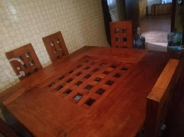 Comedor de madera grande 6 sillas color terracota