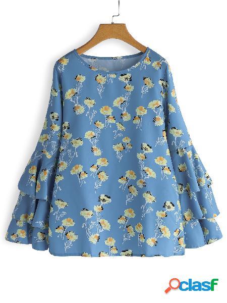 Estampado de flores azul cuello redondo manga larga de campana blusas