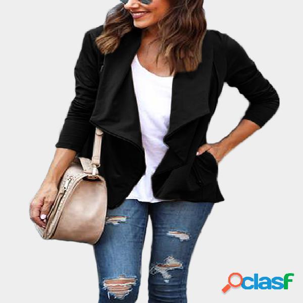 Diseño negro con cremallera, cuello redondo, manga larga, chaqueta