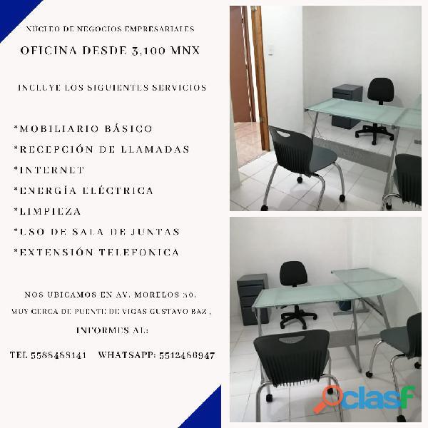 Renta de oficina desde $ 3,100 MXN con servicios incluidos