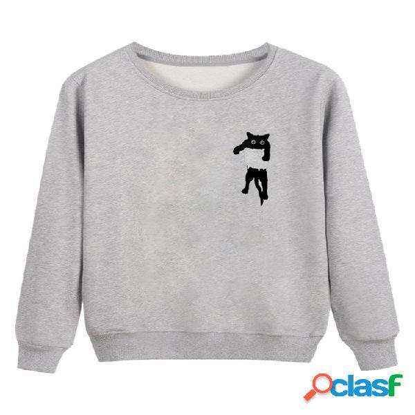 Sudadera cuello redondo manga larga estampado gato lindo