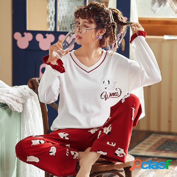 Pijama de dos piezas de algodón de manga larga para cachorros de dibujos animados sueltos