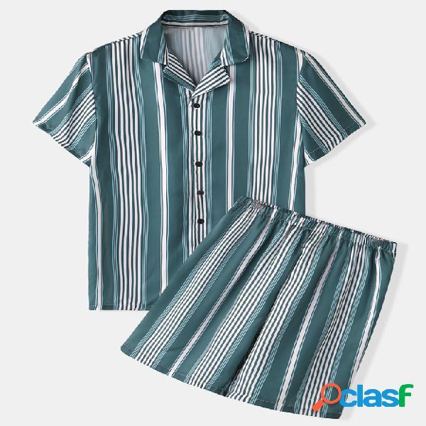 Pijama de rayas verdes de seda sintética para hombre, cuello de solapa de dos piezas, ropa de estar suave y cómoda
