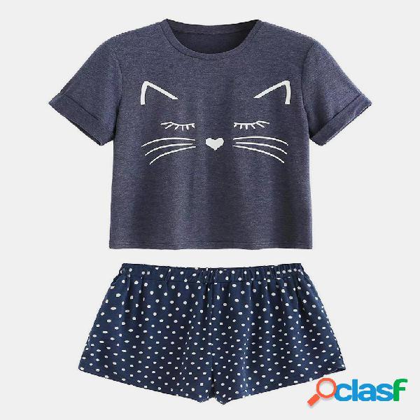 Mujer gato imprimir pijamas casuales de manga corta mujer loose loungewear
