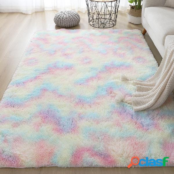 Gradiente arco iris tie-dye alfombra de felpa sala de estar dormitorio mesa de centro manta sala de estudio sala de reuniones manta de tatami