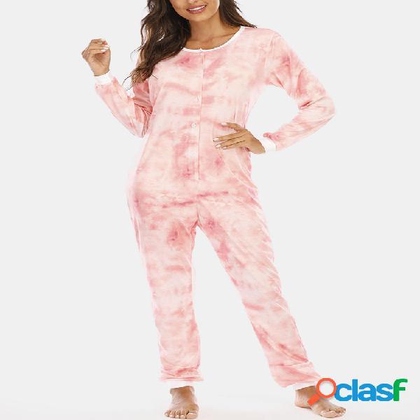 Mujer plus talla estampado tie-dye suelto redondo cuello botón de manga larga mono pijamas para el hogar