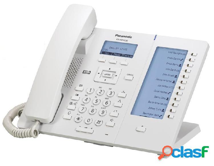 Panasonic teléfono ip kx-hdv230x, 6 lineas, 12 teclas programables, altavoz, blanco