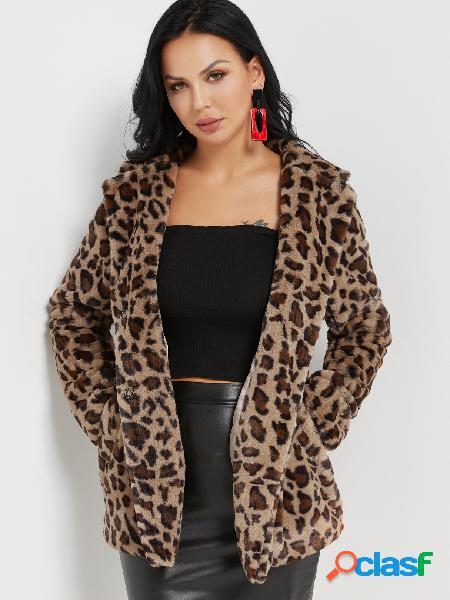 Abrigo de mangas largas caqui con cuello abierto de solapa de leopardo