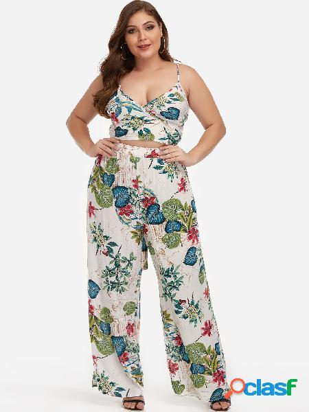 Top corto con estampado floral y pantalones anchos de dos piezas con estampado floral dos conjuntos de piezas