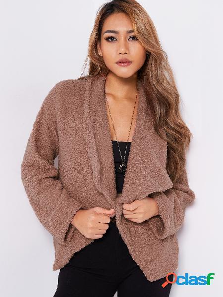 Abrigo largo de manga larga con cuello abierto de solapa rosa