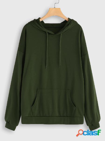 Sudadera con capucha de bolsillo verde militar de talla grande