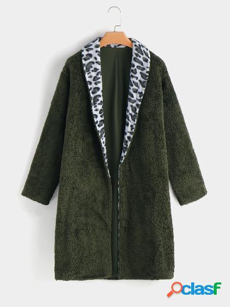 Abrigo de piel sintética mangas largas con cuello de solapa verde militar