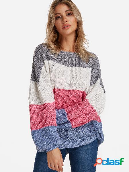 Color blanco costura cuello redondo mangas linterna suéter