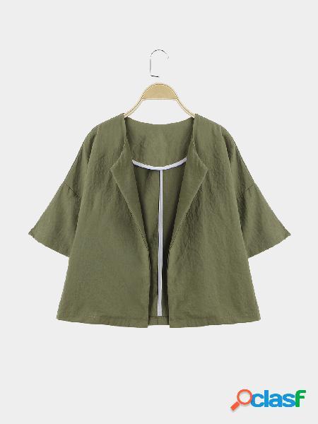 Verde militar easy-matching 1/2 longitud sleeves outwear