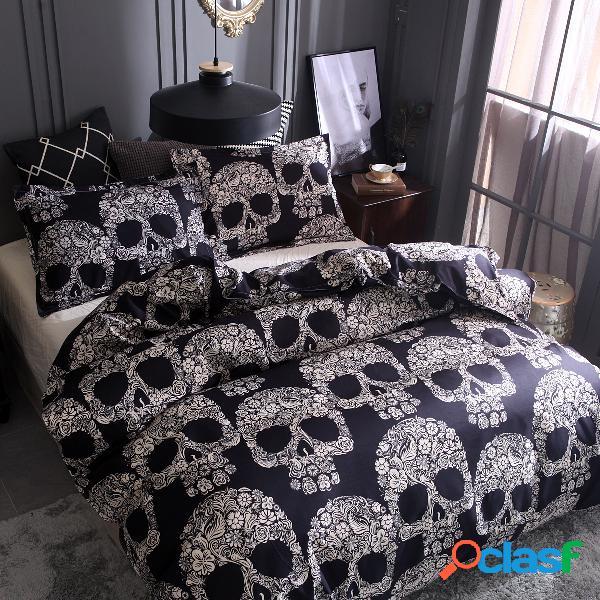 Negro blanco cráneo funda de almohada impresa funda de almohada juegos de cama de estilo halloween