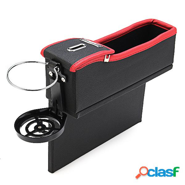 Caja de almacenamiento de cuero en coche bote de moneda soporte de bebida en asiento de coche