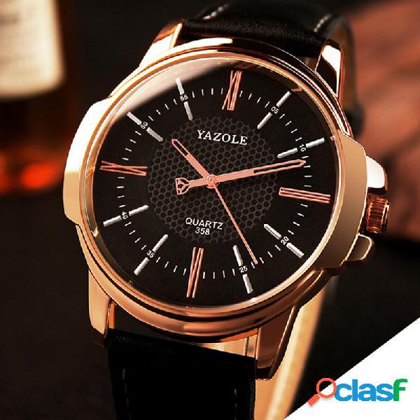 Reloj de cuarzo de cuero soft de moda para negocios, con dial simple para hombres