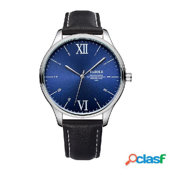 Reloj de cuarzo de negocios con correa de cuero negro de moda con esfera simple para hombre classic