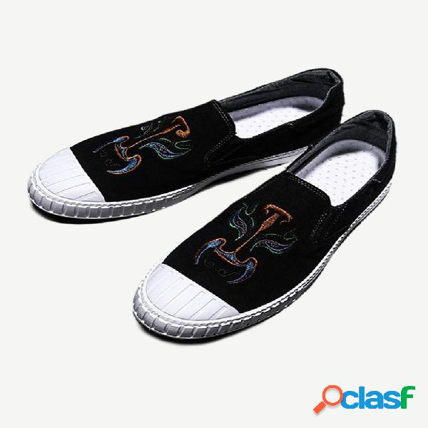 Nuevos zapatos de moda para hombre, zapatos bordados con línea de color, cómodos y salvajes para hombre, one, zapatos informales transpirables para personas de pie para hombres