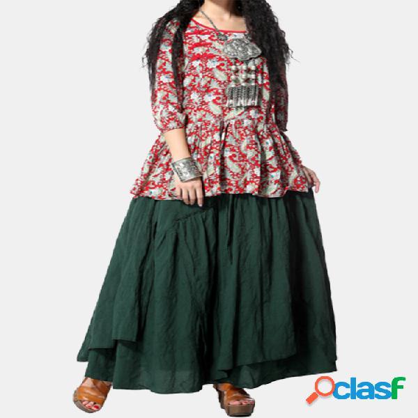 Vendimia color sólido suelto cintura elástica asimétrica mujer faldas largas