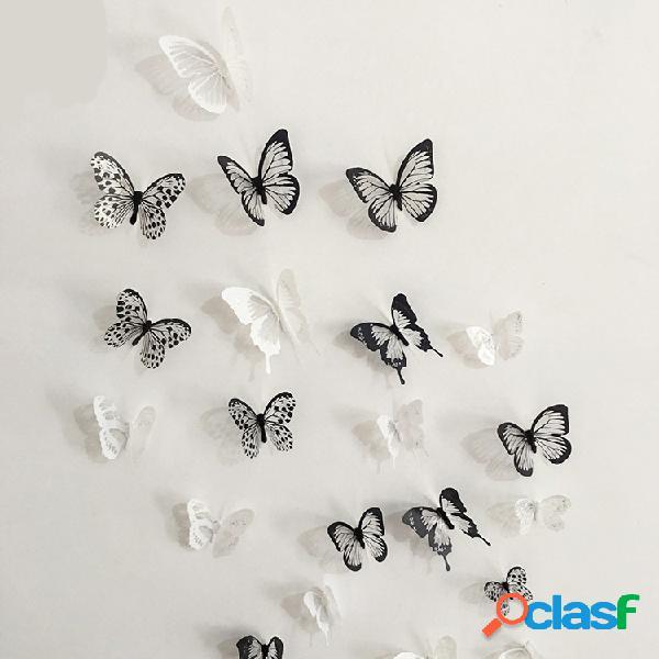 18 piezas 3d negro blanco mariposa etiqueta de la pared nevera imán decoración del hogar aplique de arte