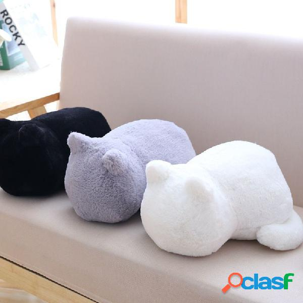 Peluche corto de algodón pp relleno gato almohada muñeca infantil cojín almohada trasera negro blanco gris gato juguetes