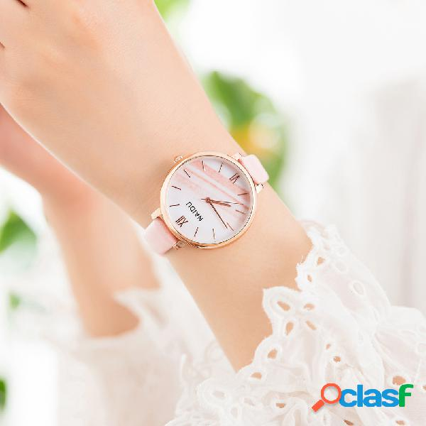 Trendy marble mujer reloj de cuarzo, reloj de cintura de cuero, estilo simple, reloj de pu