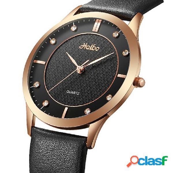 Pareja ocasional reloj de cuarzo impermeable reloj de cuero con esfera simple y reloj de cintura para mujer hombres
