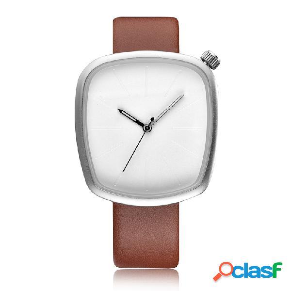 Reloj de cuarzo de moda de cuero banda geométrica simple vidrio grande cuadrado para mujeres