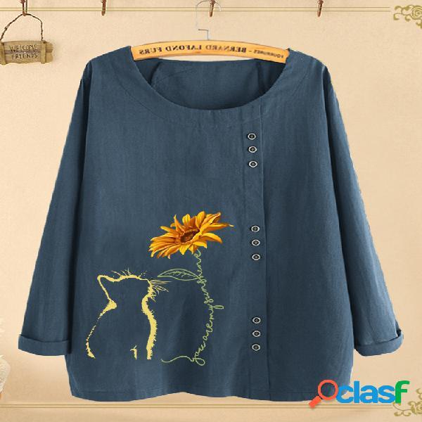 Dibujos animados gato blusa estampada con cuello redondo y manga larga para mujer