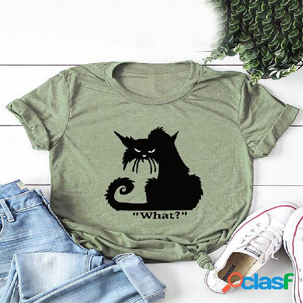 Dibujos animados gato camiseta estampada de manga corta con cuello redondo para mujer