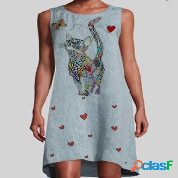 Dibujos animados gato corazones imprimir sin mangas vestido para mujer