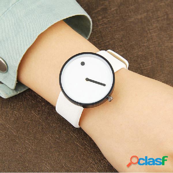Simple classic mujer reloj de pulsera sin número dial redondo cuero banda relojes de cuarzo