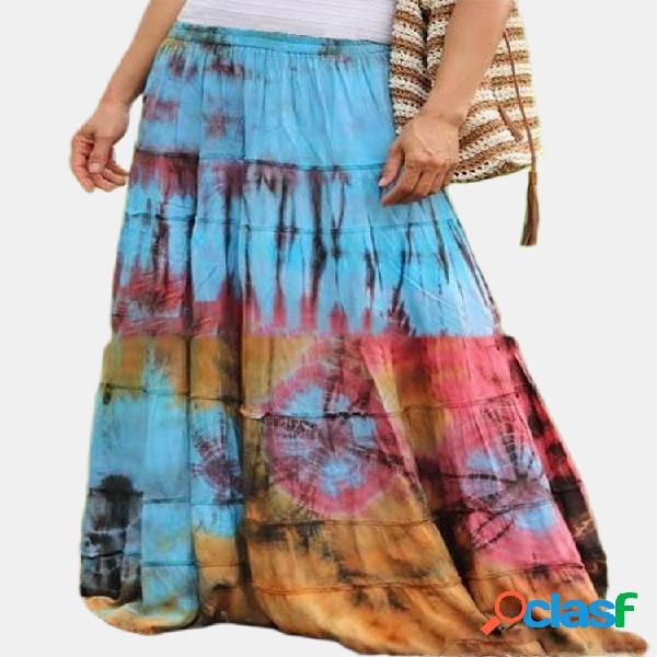 Falda maxi bohemia con cintura elástica y estampado teñido en varios colores para mujer