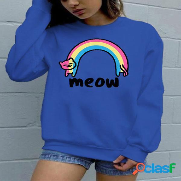 Dibujos animados gato sudadera con cuello redondo y manga larga con estampado de arcoíris