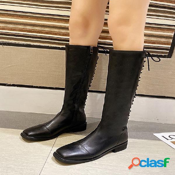Mujer cálido color sólido cremallera lateral tacón en bloque largo recto hasta la rodilla botas