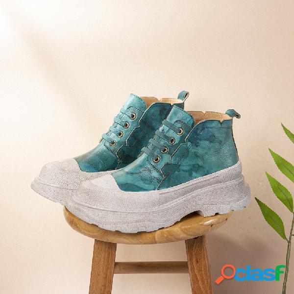 Socofy zapatos planos informales con plataforma con cordones y punta redonda de cuero con estampado tie dye