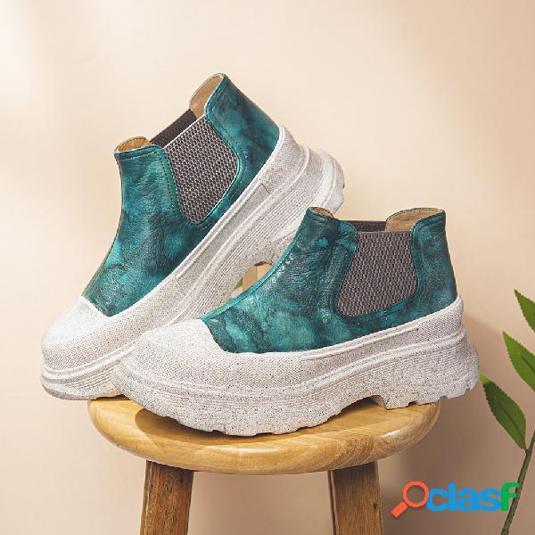 Socofy zapatos planos informales con plataforma sin cordones elásticos con punta redonda de cuero con estampado tie dye