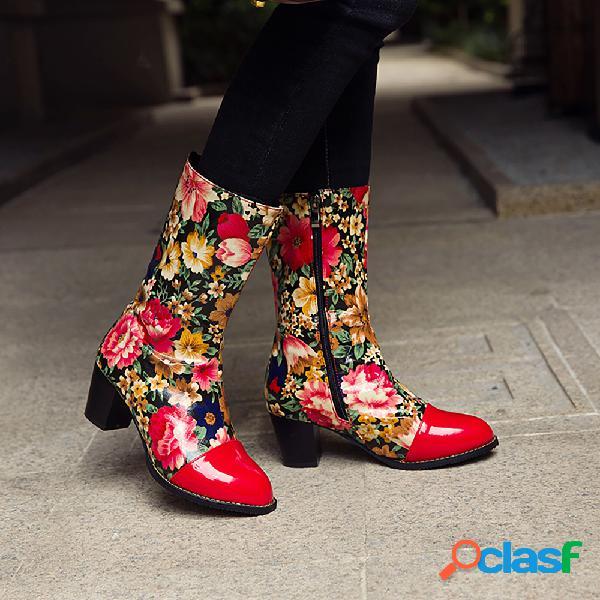 Socofy punta redonda flores empalme cremallera lateral tacón grueso media pantorrilla botas