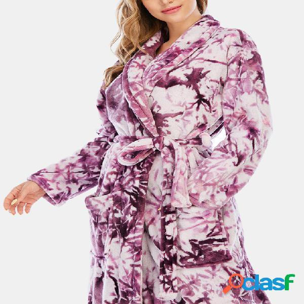 Mujer Franela con estampado Tie-Dye con cordones Ropa de dormir gruesa y holgada Inicio Túnica