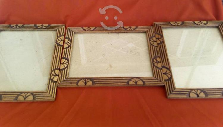3 marcos de madera antiguos tallados a mano