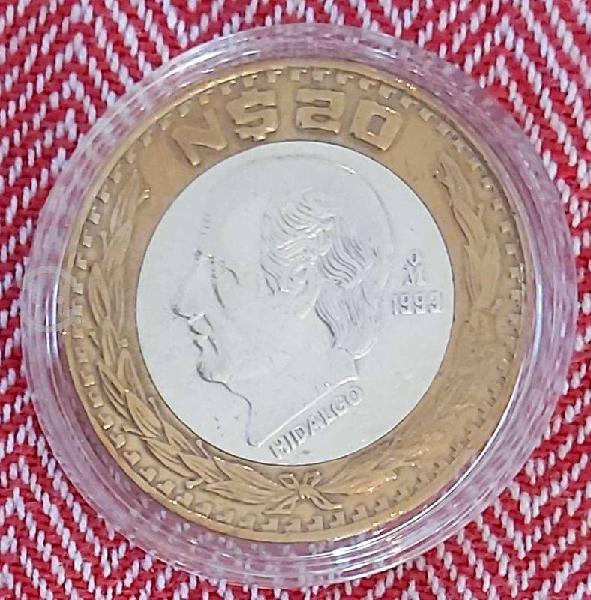 Moneda 20 nuevos pesos 1993 plata 0.925 méxico