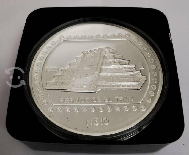 Moneda 1993 5 onzas plata n10 pesos piramide tajin