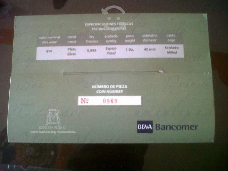 Moneda de tlaxcala onza de plata pura ley 0.999