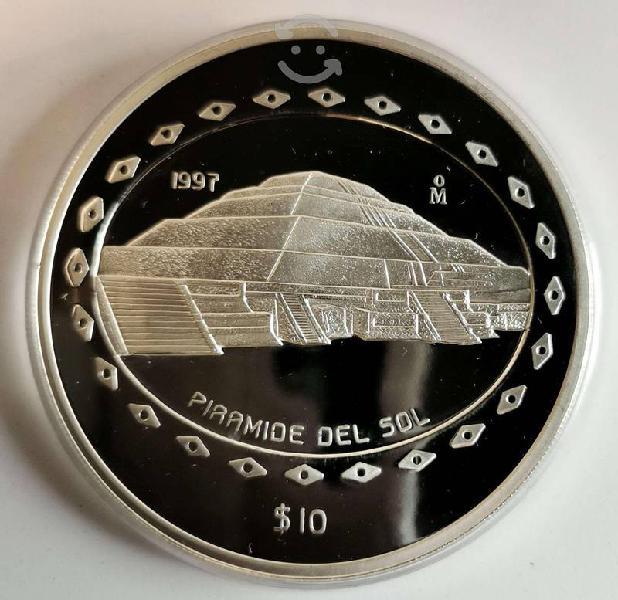 Pza1997 5 oz plata pura proof espejo piramide sol
