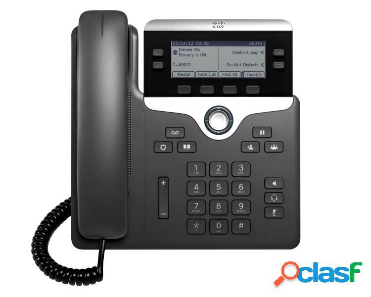 """Cisco teléfono ip con pantalla 3.5"""" 7821, 2 líneas, altavoz, negro/plata"""